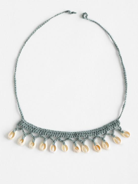 trendy Shell Beach Crocheted Necklace - LIGHT GREEN ONE SIZE
