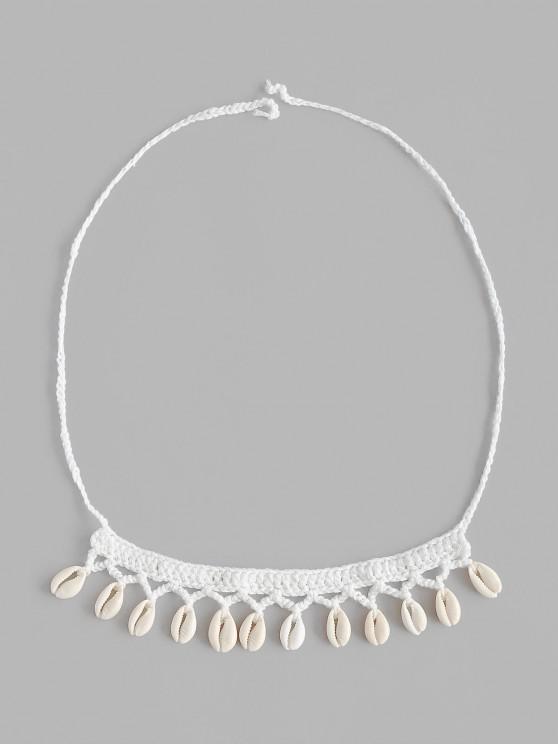 Beach Shell Embellish Crochet Choker Necklace - أبيض حجم واحد