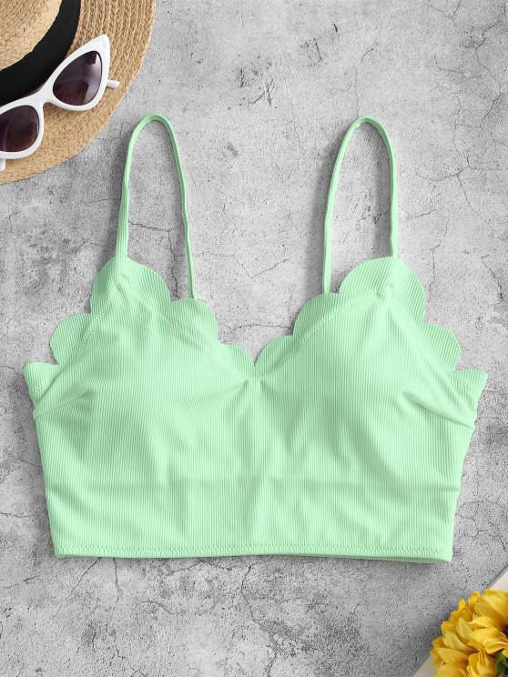 best ZAFUL Scalloped Ribbed Padded Bikini Top - LIGHT GREEN S