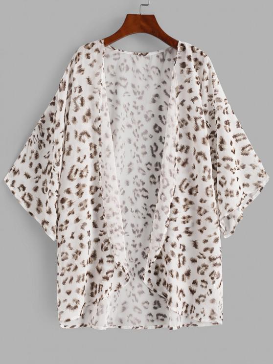 outfits Leopard Kimono Cover Up - WHITE L