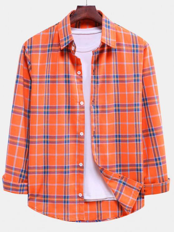 shop Plaid Curved Hem Button Down Shirt - PUMPKIN ORANGE M