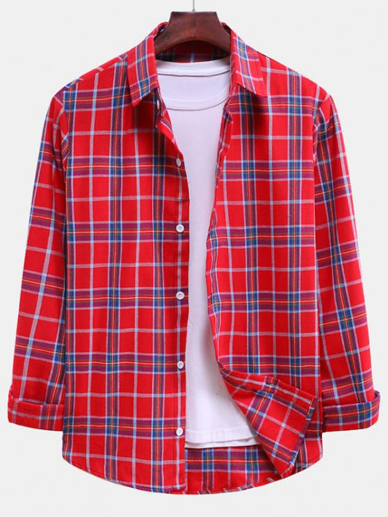 lady Plaid Curved Hem Button Down Shirt - LAVA RED M