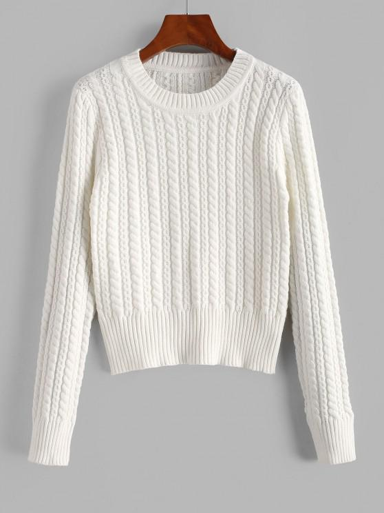 Crew Neck Cable Knit Sweater - أبيض حجم واحد