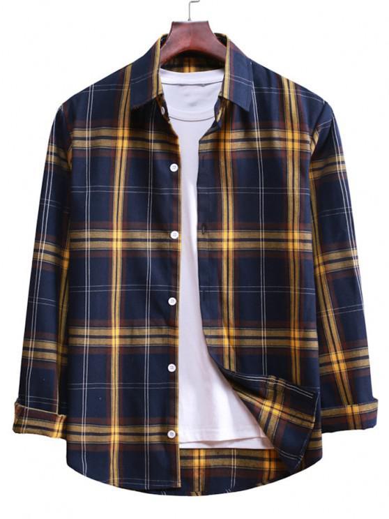 best Button Up Plaid Casual Shirt - DENIM DARK BLUE S
