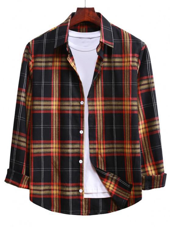 buy Button Up Plaid Casual Shirt - BLACK M