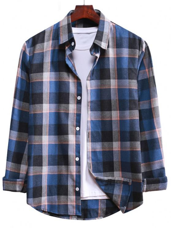 latest Long Sleeve Plaid Casual Shirt - DENIM DARK BLUE L