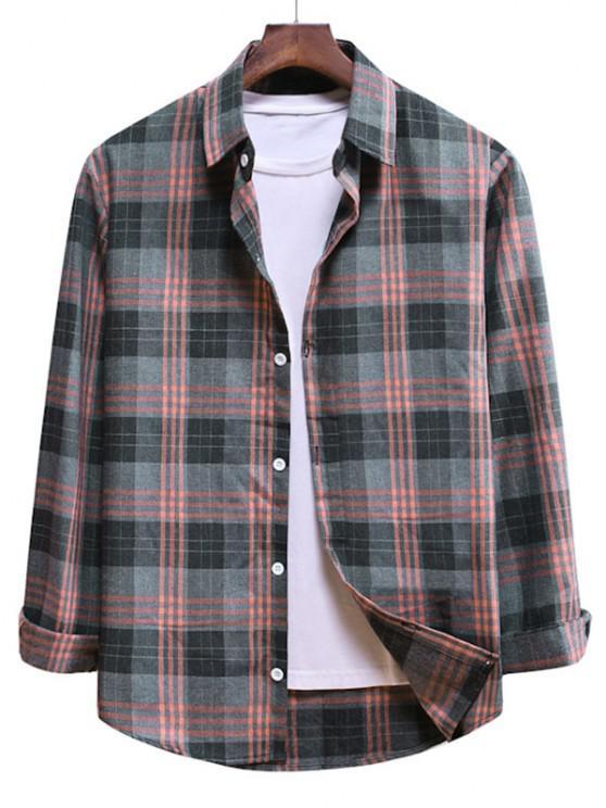 sale Long Sleeve Plaid Pattern Button Up Shirt - PINK ROSE L
