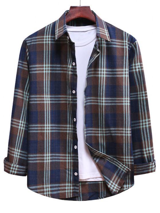 shops Long Sleeve Plaid Pattern Button Up Shirt - MULTI-B XL