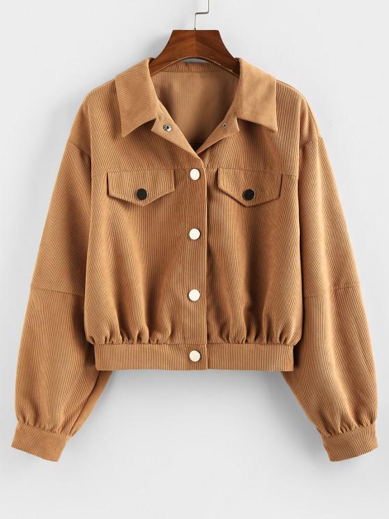 womens ZAFUL Corduroy Flap Detail Drop Shoulder Jacket - LIGHT BROWN S