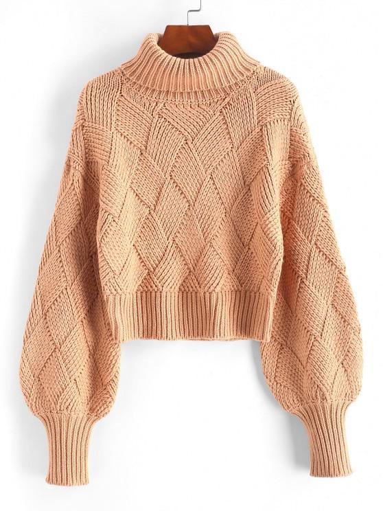 Turtleneck Bishop Sleeve Cropped Sweater - برتقالي فاتح حجم واحد