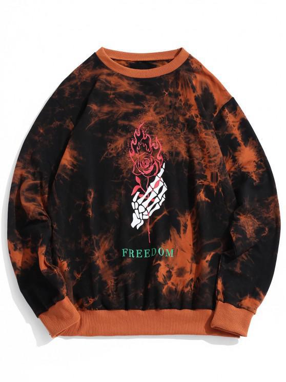 ZAFUL Sweatshirt Teinté Squelette et RoseenMain Imprimés - Orange Foncé M
