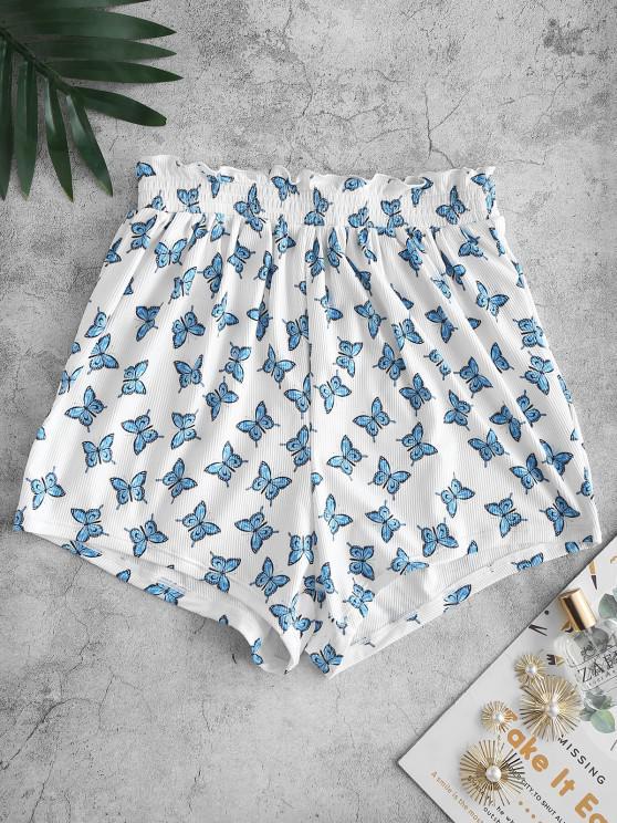 best ZAFUL Ribbed Butterfly Print Ruffle Swim Bottom - WHITE L