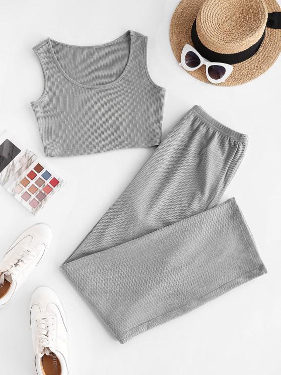 women's ZAFUL Rib-Knit Pajama Pants Set - DARK GRAY XL