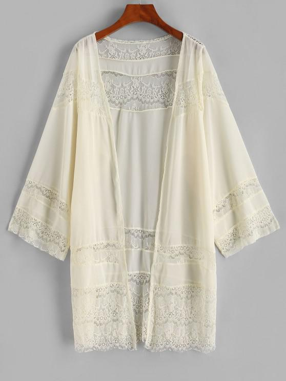 sale Lace Panel Chiffon Cover-up Kimono - LIGHT YELLOW S