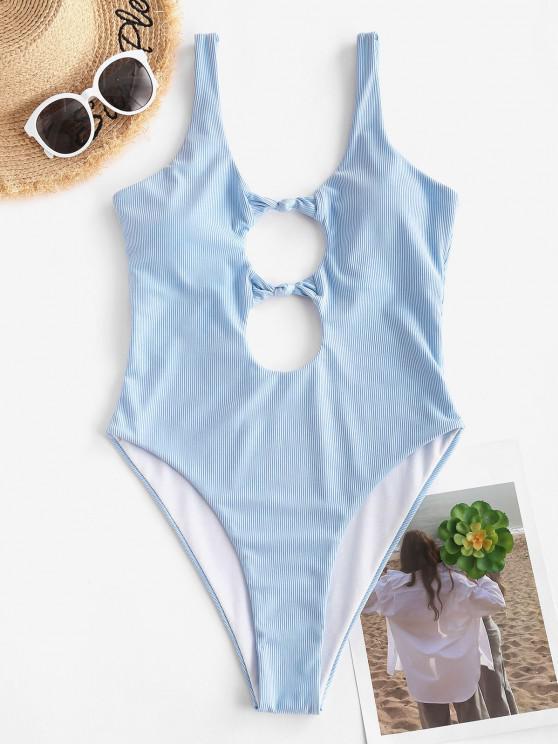 shops ZAFUL Backless Front Knot Cutout One-piece Swimsuit - LIGHT BLUE XL