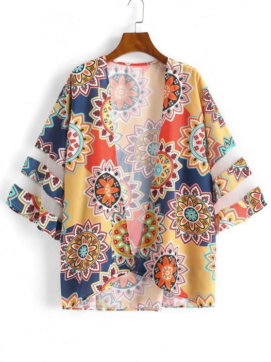 Kimono de Plage avec Empiècements en Maille Style Tribal - Rouge L