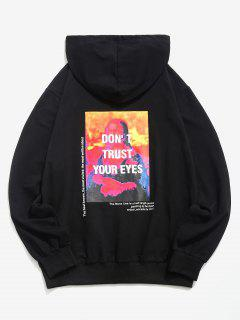 Letter Graphic Print Kangaroo Pocket Slogan Hoodie - Black Xl