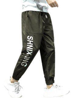 Pantalones Ajustados Estampado Letras - Ejercito Verde M
