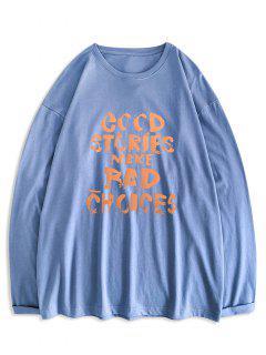 Good Stories Slogan Print Long Sleeve Basic T-shirt - Denim Blue 2xl