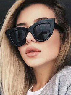 Wide Rim Retro Sunglasses - Black