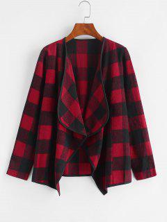 Manteau à Carreaux Drapé En Avant - Rouge Lave M