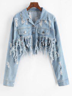 Distressed Cropped Jean Jacket - Light Blue S