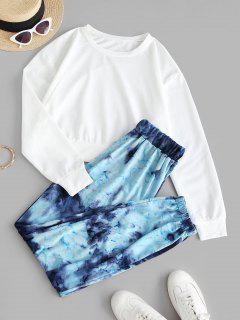 Plain Tie Dye Sweat Two Piece Set - Blue L