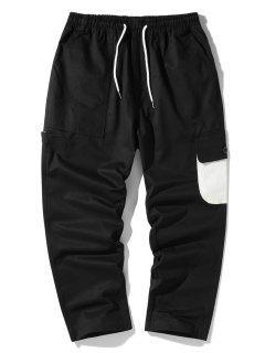 Pantalon Cargo En Blocs De Couleurs Avec Poche à Rabat - Noir Xl