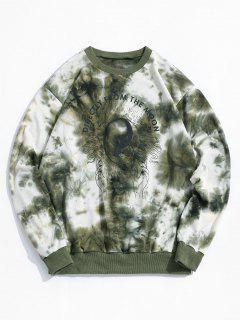 ZAFUL Tie Dye Moon Graphic Sweatshirt - Deep Green Xl