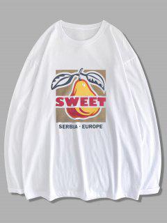 Sweet Fruit Letter Graphic Long Sleeve T-shirt - White 2xl