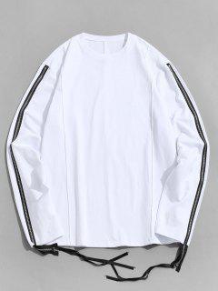 Pure Color Zipper Sleeve Crew Neck Sweatshirt - White L