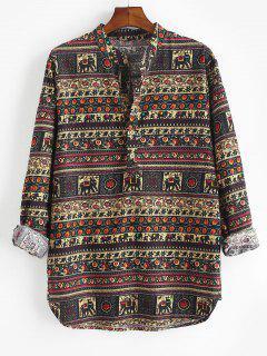 Floral Striped Print Kurta Half Button Shirt - Black L