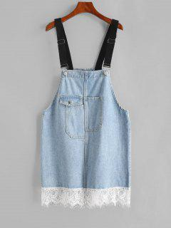 Flap Pocket Lace Trim Overall Jean Dress - Blue Gray M
