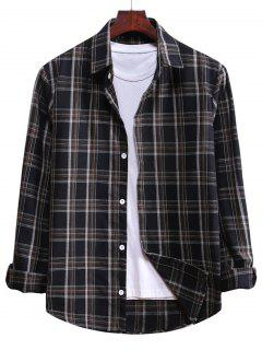 Plaid Curved Hem Button Up Shirt - Black L