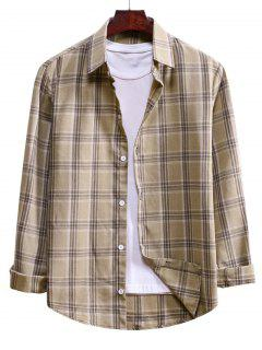 Plaid Curved Hem Button Up Shirt - Blanched Almond M