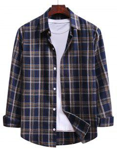 Plaid Curved Hem Button Up Shirt - Denim Dark Blue L
