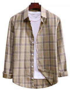 Camisa De Cordão De Botão Xadrez - Amêndoa Branqueada S