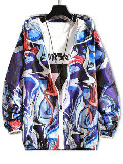 Raglan Sleeve Art Graphic Sunproof Hooded Jacket - Denim Dark Blue Xs