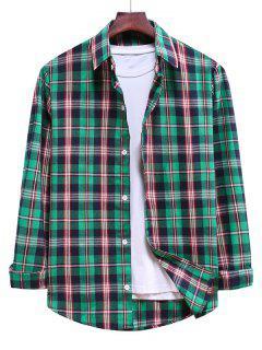 Button Down Plaid Casual Shirt - Medium Sea Green 2xl