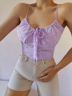 ZAFUL Broderie Anglaise Eyelet Tie Cami Top - Mauve S