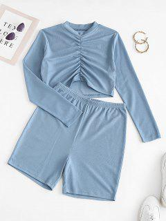 Ruched Front Ribbed Cropped Two Piece Set - Silk Blue S