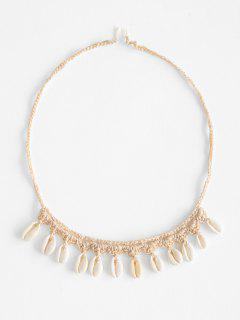 Shell Crochet Beach Necklace - Light Coffee