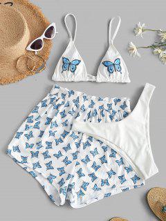 ZAFUL Maillot De Bain Bikini Côtelé Papillon Imprimé à Volants Trois Pièces - Blanc L