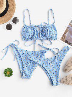 ZAFUL Ditsydruck Ausschnitt Bikini Badebekleidung Mit Hohem Bein - Hellblau S