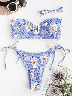 ZAFUL Smocked Daisy Print Strapless Bikini Swimwear - Light Blue S