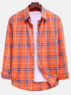 Plaid Curved Hem Button Down Shirt - Pumpkin Orange M
