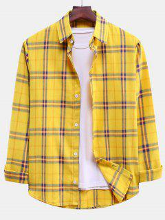 Plaid Curved Hem Button Down Shirt - Rubber Ducky Yellow L