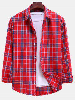 Plaid Curved Hem Button Down Shirt - Lava Red M