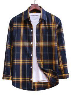 Button Up Plaid Casual Shirt - Denim Dark Blue S