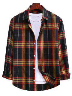 Button Up Plaid Casual Shirt - Black M